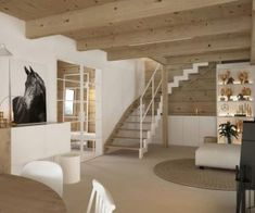 Drewniany minimalistyczny dom   Proj: Elementy   IH - Internity Home Cool Designs, Loft, Bed, House, Furniture, Home Decor, Living Room, Decoration Home, Stream Bed