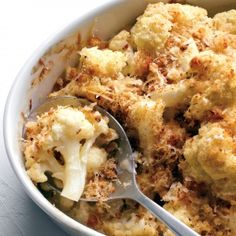 Cauliflower Gratin! Between the cream, cheese and bread crumbs it may not be healthy, but it sounds tasty!
