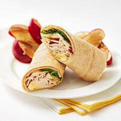 Love turkey? Here's a fun sandwich wrap idea that combines roasted turkey with brie, thin slices of apple and arugula wrapped up in a whole-grain tortilla.