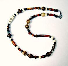 Men's Tribal Gemstone Bone Horn Beaded Necklace