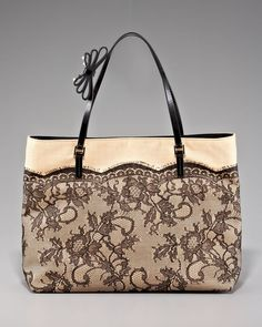 Lace Straw Tote by Valentino