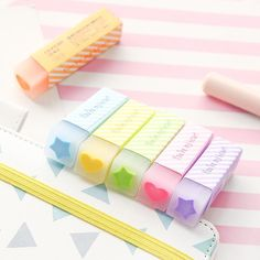 6 Pcs Macaron Color Eraser With Filling Lovely Heart Star Pencil Erasers Stationery Office School Cool Stationary, Stationary School, Stationary Design, Menu Design, Design Design, Logo Design, Japanese School Supplies, Office And School Supplies, Stationery Pens