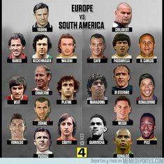 Europe v South America Brazil Football Team, Football Squads, Madrid Football, Football Jokes, Legends Football, Best Football Players, Football Soccer, Classic Football Shirts, Retro Football