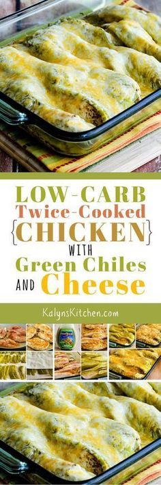 We loved this Low-Carb Twice-Cooked Chicken with Green Chiles and Cheese when we tested the recipe and this might become one of your favorites for an easy after-work dinner that's low-carb, Keto, low-glycemic, and South Beach Diet friendly. [found on KalynsKitchen.com]