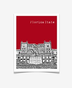 Florida State University Art Print - Doak Campbell Stadium Poster - FSU - Tallahassee City Skyline Poster - USA - VERSION 2