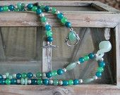 Long Beaded Necklace - Apatite, Jade, Adventurine and Sterling Silver Filiagree beads