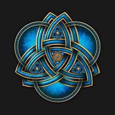 Stunning and unique doubled Celtic triquetra knotwork in sea blue and gold with triple rings on a flared blue light and black background. Celtic Triquetra, Celtic Art, Celtic Knots, Irish Celtic Symbols, Celtic Mandala, Celtic Crosses, Mayan Symbols, Celtic Dragon, Viking Symbols