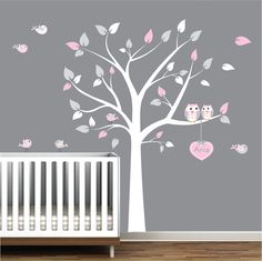 Nursery Wall Decals Tree With Custom Name Decal Owls Birds. $99.00, via Etsy.