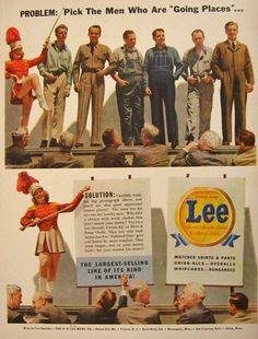 1942 Vintage Lee Jeans & Overalls Ad ~ Men Who Are Going Places, Vintage Magazine Ads Lee Jeans, Lee Denim, Denim Men, Vintage Outfits, Vintage Jeans, Americana Vintage, Jean Overalls, Fashion Marketing, Magazine Ads