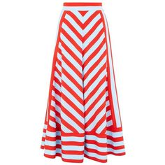 DKNY is one of the designers championing the Stripes trend for SS15. This Striped A-Line Skirt is designed with brilliant bands of careless blue and red. Craft…