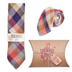 Color block plaid tie