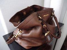 brown leather prada purse
