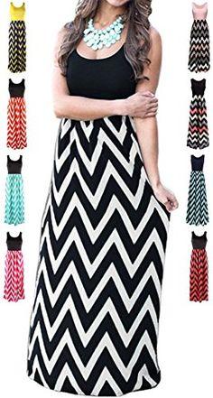 34797d96d2a HanDanGe Women s Summer Chevron Striped Print Dress Tank Long Maxi Dresses  For Women Black-A-L