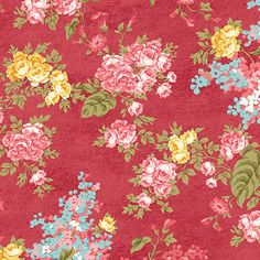 Flora Ruby - Forget Me Not  10140-10 - FOREVER LOVE by Eleanor Burns - Benartex Fabrics - By the Yard