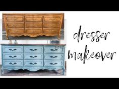Learn how to blend chalk paint on a dresser in this easy tutorial. Blending chalk paint on a dresser is a great way to highlight details and add dimension! Chalk Paint Brushes, Blue Chalk Paint, Blue Furniture, Chalk Paint Furniture, Diy Furniture, Refurbished Furniture, Diy Dresser Makeover, Furniture Makeover, Dresser Makeovers