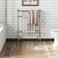 The Bath Co. Dulwich traditional radiator 952 x 659 offer pack Traditional Towel Radiator, Traditional Radiators, Brown Bathroom Decor, Bathroom Wall Decor, Bathroom Ideas, Bathroom Storage, Small Bathroom, Freestanding Bath With Shower, Traditional Bathroom Suites
