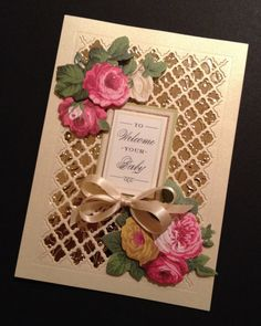 "By Michelle Staley. Die cut using ""Fancy Lattice Die"" (Spellbinders) from the center of a card front. Score around cut-out area. Back the cut-out space with foil layered on another cardstock panel. Adhere die-cut lattice to the foil, placing lattice inside the cut-out section. Add flowers, ribbon, sentiment."