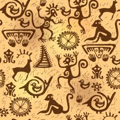 Cave painting seamless pattern stock vector art 82454431 - iStock