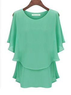 Summer Style Blusas Kimono Blusa Feminina Blouse Women Tops Shirt Camisa Feminina Chiffon Casual O Neck Plus Size Blouses 1630 Chiffon Ruffle, Chiffon Tops, Chiffon Shirt, Print Chiffon, Ruffle Top, Blouse Styles, Blouse Designs, Mode Plus, Batwing Sleeve