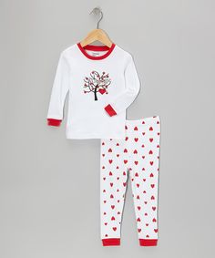 Another great find on #zulily! White & Pink Love Tree Pajama Set - Infant, Toddler & Girls by Leveret #zulilyfinds
