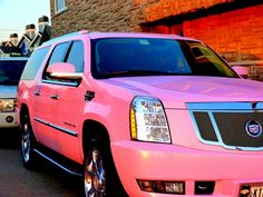"""My addiction for pink cars continues. Here are 5 new """"pinkys"""" (as I call pink cars) ranging from a classic Cadillac to Ferrari. Ferrari, Maserati, Lamborghini, Cadillac Escalade, Escalade Car, Sexy Cars, Hot Cars, Station Wagon, My Dream Car"""