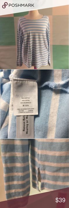 "J CREW Light blue striped oversize shirt SMALL J CREW Size Small Light blue and white stripe Oversized 100% cotton Measurements are approximate and taken with garment laying flat: Bust: 23"" Length:  27"" - front 28"" - back All my items come from my smoke-free, cat-free home.   Thanks for looking! J. Crew Tops Tees - Long Sleeve"