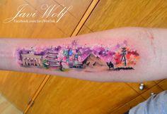 Watercolor Landscapes Tattoo. Tattooed by javiwolfink www.javiwolf.com