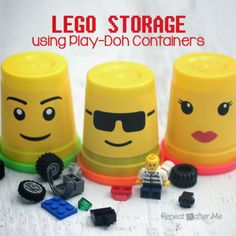 Lego Storage using Play Doh Containers
