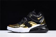 91b718efbf Mens Shoes Nike Air Force 270 Gold Standard Metallic Gold Black White  AH6772 700 Black And
