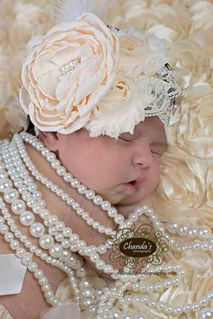 READY TO SHIP Cream Singed Satin Flower by LauraLeeDesigns108