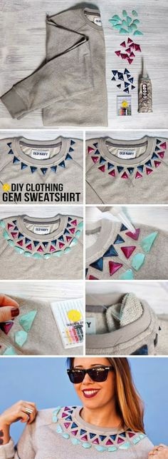 DIY Gem Embellished Sweatshirt