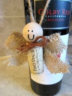 Mixed Cork Brands Wine Cork Angel Ornaments in Chocolate Brown - pinned by pin4etsy.com