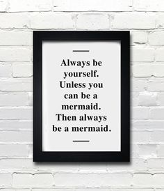 A3 Mermaid poster quote print apartment decor  by blackandtypeshop,