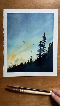 Watercolor Art Lessons, Watercolor Paintings For Beginners, Watercolor Landscape Paintings, Watercolor Techniques, Watercolor Trees, Simple Watercolor, Tattoo Watercolor, Watercolor Animals, Watercolor Background