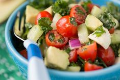 Chopped Kale Salad with cucumbers, mozzarella, avocado, tomatoes and more! This is the perfect salad for Kale, kids and you! Veggie Recipes, Salad Recipes, Veggie Meals, Kale Salad, Caprese Salad, All Vegetables, Veggies, Salads For Kids, Italian Chopped Salad