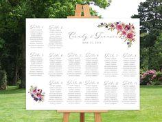 Tableau mariage con fiori acquerello Tableau de mariage viola