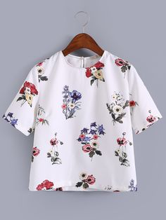 Shop White Keyhole Back Floral Print Blouse online. SheIn offers White Keyhole Back Floral Print Blouse & more to fit your fashionable needs.