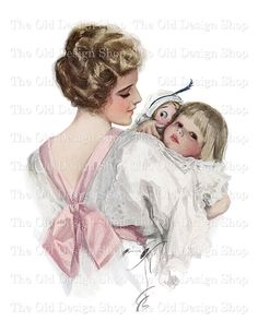 Harrison Fisher Mother and Daughter Vintage Printable Art To My Mother, Mothers Love, Mother And Child, Happy Mothers Day, Mother Of The Bride, Vintage Pictures, Vintage Images, Vintage Cards, Divas