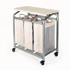 8. Seville Classics 3-Bag Folding Laundry Sorter