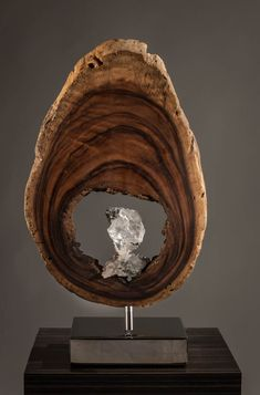 Wisdom-  Acacia Wood, Selenite Cluster, High Polished Stainless Steel Base, Light 28 x 16 x 7 in. by Dorit Schwartz