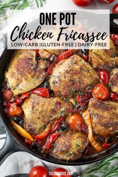 This Chicken Fricassee is some hearty, one-pot gluten free and low carb comfort food! Amazing Abruzzi-style chicken fricassee w/garlic, chopped rosemary, Kalamata olives, hot cherry peppers, cherry tomatoes, & white wine. #TasteAndSee