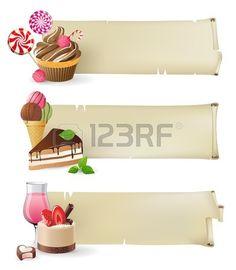 3 banners de estilo retro con dulces y caramelos Foto de archivo