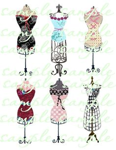 French+Corsets+on+Vintage+Dress+Forms++Digital+by+fringeart,+$2.99