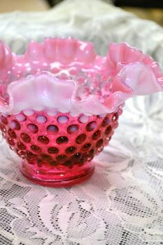 Fenton Hobnail Cranberry Opalescent Ruffle Top Bowl