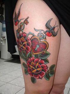 Stewart Robson Blog: Roses, Heart Locket, Key & Swallows on Thigh