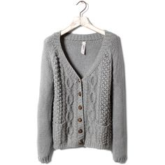 Pull & Bear Aran Knitted Cardigan ($48) ❤ liked on Polyvore