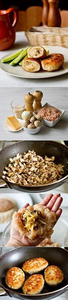 Как приготовить куриные котлеты с грибами и сыром - рецепт, ингридиенты и фотографии