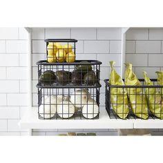 Wire Basket Storage, Wire Storage, Pantry Storage, Pantry Organization, Storage Baskets, Storage Spaces, Organizing Tools, Kitchen Storage, Kitchen Organizers