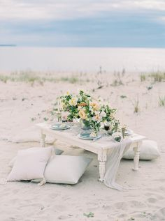 A Romantic Charlevoix Elopement in the Dunes Beach Wedding Aisles, Romantic Wedding Receptions, Beach Wedding Favors, Wedding Reception Decorations, Beach Weddings, Wedding Tables, Wedding Decor, Coastal Wedding Centerpieces, Sage Green Wedding