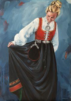 Vestfoldjente. Akryl på lerret 80x100 cm Constitution Day, Norse Pagan, Folklore, Norway, Illustrator, Paintings, Celebrities, Celebs, Paint